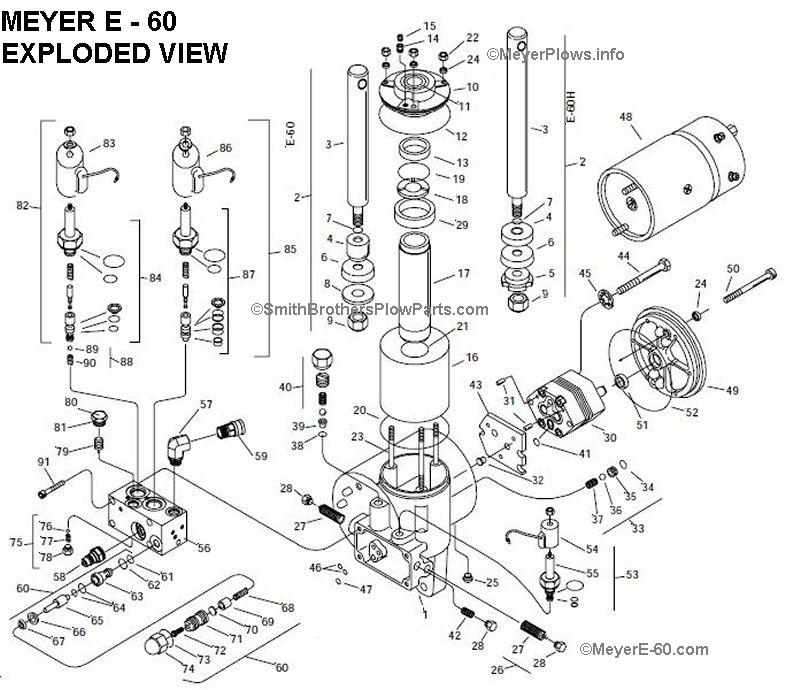 Meyer E 60 Exploded View Parts List on western snow plow hydraulic diagram